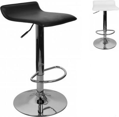 AMSTYLE Barhocker IBIZA Hocker Bezug Kunstleder weiß höhenverstellbar Design Barstuhl ohne Rückenlehne Chrom 110 kg