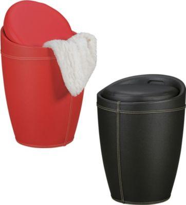 Amstyle AMSTYLE Wäschebehälter LUCY Wäschekorb Farbe Rot Hocker mit Funktion Badhocker Bezug Kunstleder Sitzhocker 100 k