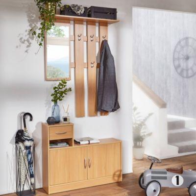 Garderobe Julia Buche 90 cm mit Spiegel und Wandgarderobe