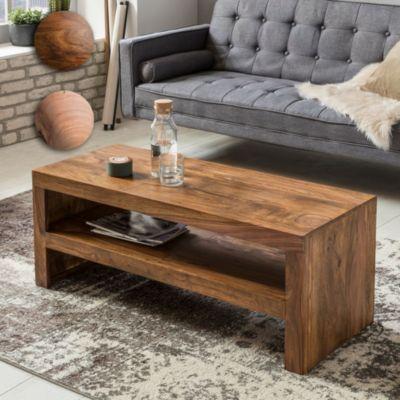 Wohnling WOHNLING Couchtisch MUMBAI Massiv-Holz Durban Sheesham 110 cm breit Wohnzimmer-Tisch Design braun Landhaus-Stil