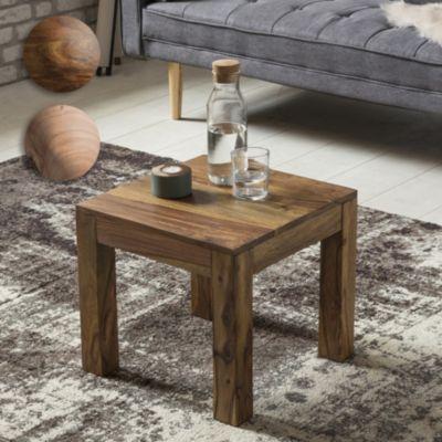 Wohnling WOHNLING Couchtisch Massiv-Holz Sheesham 45 cm breit Wohnzimmer-Tisch Design dunkel-braun Landhaus-Stil Beistel