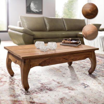 Wohnling WOHNLING Couchtisch Massiv-Holz Sheesham 110 cm breit Wohnzimmer-Tisch Design dunkel-braun Landhaus-Stil Beiste