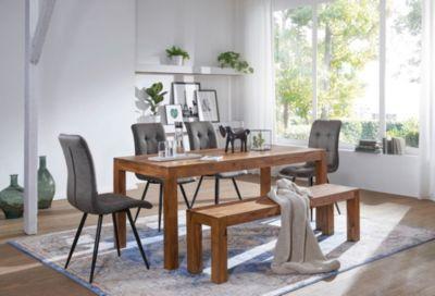 Wohnling WOHNLING Esstisch MUMBAI Massivholz Sheesham 120 cm Esszimmer-Tisch Holztisch Design Küchentisch Landhaus-Stil