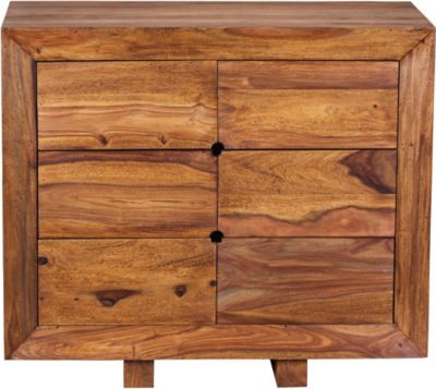 Sideboard MUMBAI Massivholz Sheesham Kommode 90 cm 6 Schubladen Anrichte Design Highboard Landhaus-Stil Echt-Holz