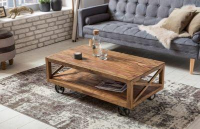 Wohnling Couchtisch PALI Massiv-Holz Sheesham 110 cm breit Wohnzimmer-Tisch Design dunkel-braun Landhaus-Stil mit Rollen