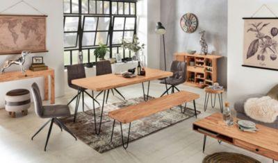 Wohnling Esstisch BAGLI Massivholz Akazie 180 Cm Esszimmer Tisch Holztisch  Metallbeine Küchentisch Landhaus Dunkel Braun