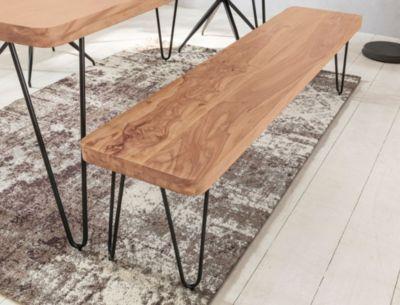 Wohnling WOHNLING Esszimmer Sitzbank BAGLI Massiv-Holz Akazie 120 x 45 x 40 cm Holz-Bank Natur-Produkt Küchenbank im Lan