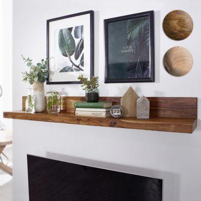 Wandregal MUMBAI Massiv-Holz Sheesham Holzregal 60 cm Landhaus-Stil Hänge-Regal Echt-Holz Wand-Board Natur-Produkt