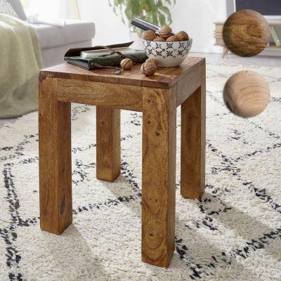 Wohnling WOHNLING Beistelltisch Massiv-Holz Akazie 35 x 35 cm Wohnzimmer-Tisch Design dunkel-braun Landhaus-Stil Couchti