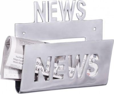 Wohnling Deko Prospekthalter NEWS für die Wand Design Zeitungshalter News Zeitschriftenhalter aus Aluminium Farbe Silbe