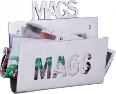 Wohnling Deko Magazinhalter MAGS für die Wand Design Zeitungshalter News Zeitschriftenhalter aus Aluminium Farbe Silber