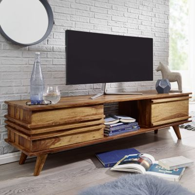 Lowboard KADA Massivholz Sheesham Kommode 145 cm TV-Board Ablage-Fach Landhaus-Stil Unterschrank 41 cm TV-Möbel
