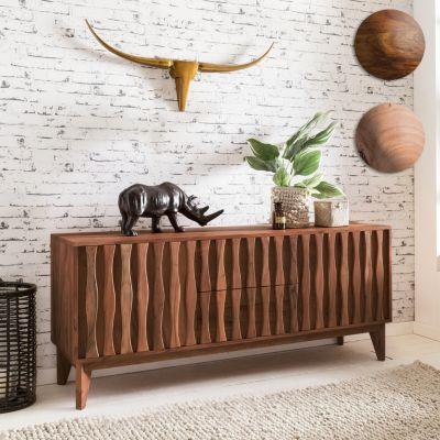 Sideboard BELUR aus Massivholz Sheesham | Kommode 160 cm mit 2 Schubladen 2 Türen | Design Anrichte Landhausstil natur