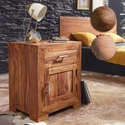 wohnling-nachttisch-mumbai-massivholz-sheesham-design-nachtkommode-60-cm-mit-schublade-und-tur-nachtschrank-fur-boxspringbett, 139.95 EUR @ plus-de