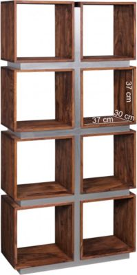 Bücherregal GUNA Massivholz Sheesham 180 x 85 x 30 cm Design Raumteiler hohes Regal Holz Landhaus-Stil Regalsystem