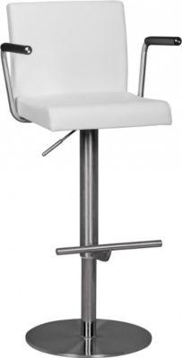 WOHNLING Barhocker Edelstahl Durable M3 weiß Barstuhl mit Lehne Tresenhocker Design Hocker höhenverstellbar drehbar