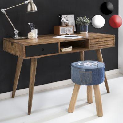 Schreibtisch REPA weiß 120 x 60 x 75 cm Massiv Holz Laptoptisch Sheesham Natur Landhaus-Stil Arbeitstisch mit 2 Schubladen Bürotisch PC-Tisch