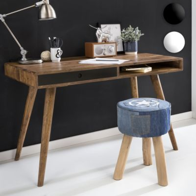 Schreibtisch REPA weiß 120 x 60 x 75 cm Massiv Holz Laptoptisch Sheesham Natur Landhaus-Stil Arbeitstisch mit 1 Schublade Bürotisch PC-Tisch