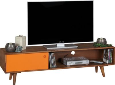 TV Lowboard REPA Sheesham Massivholz mit 1 Tür 140 x 40 x 35 cm | TV Hifi Regal im Retro-Design | Fernsehschrank TV-Board in dunkelbraun / orange