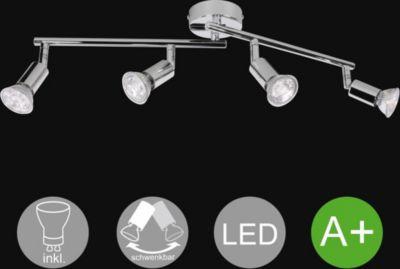 WOHNLING 4-flammiger LED-Strahler Warmweiß EEK A+ inkl. 4x3 Watt Leuchtmittel   Decken-Leuchte zwei Arme Diele Flur GU10 Fassung   Decken-Lampe Spots Drehbar Wohnzimmer Schlafzimmer Kinderzimmer