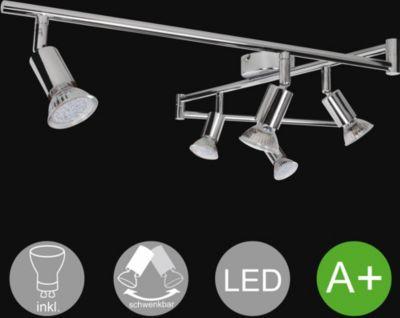 WOHNLING 6-flammiger LED-Strahler Warmweiß EEK A+ inkl. 6x3 Watt Leuchtmittel   Decken-Leuchte zwei Arme Warmweiß Diele Flur GU10 Fassung   Decken-Lampe LED-Spots Drehbar Wohnzimmer Schlafzimmer Kinderzimmer