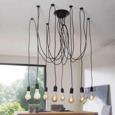Industrial Deckenleuchte LYDIA Leuchte 8-flammig Pendelleuchte schwarz Retro Lampe mit 8 Pendel Hängelampe E27 Vintage Pendellampe aus Metall Hängeleuchte höhenverstellbar Loft-Kronleuchter