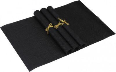 4er Set Platzdeckchen Schwarz Unifarben rutschfest 30 x 45 cm modern abwischbar PVC Design Platzmatten für Familie Platzset Tischset eckig
