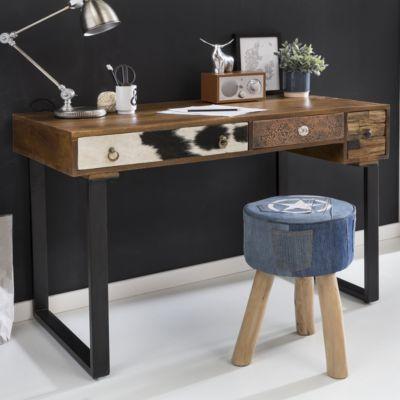 Schreibtisch PATNA 120 x 60 x 79 cm Massiv Holz Laptoptisch Mango Natur Landhaus-Stil Arbeitstisch mit Schubladen Bürotisch PC-Tisch
