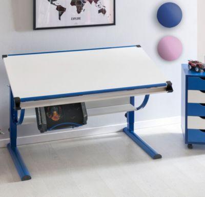 Design Kinderschreibtisch MORITZ Holz 120 X 60 Cm Blau / Weiß Jungen  Schülerschreibtisch Neigungs Verstellbar