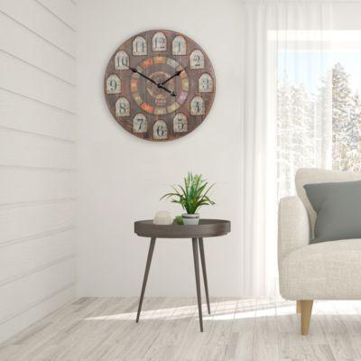 Deko Vintage Wanduhr XXL Ø 60 Cm France Holz Bunt | Große Uhr Rustikal  Dekouhr Rund