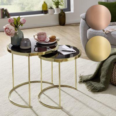wohnling-wohnling-design-2er-set-satztisch-42-cm-45-cm-metall-glas-schwarz-kupfer-beistelltisch-verspiegelt-wohnzimmertisch-modern-glastisch