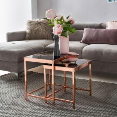 Design 2er Set Satztisch Couchtisch Metall Glas Schwarz / Kupfer  Beistelltisch Verspiegelt Wohnzimmertisch Modern Glastisch Eckig