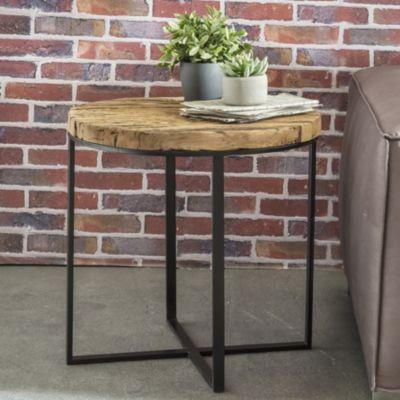 Design Beistelltisch BELLARY Oval 60x61x53 cm Massivholz Tisch mit Metallgestell Industrie Couchtisch modern Holztisch mit Metallbeinen Loft Wohnzimmertisch Anstelltisch modern