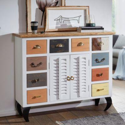 Sideboard FARID 120x105x40 Cm Vintage Stil Mango Massivholz / Metall Design  Kommode Schmal Bunt Dielenkommode