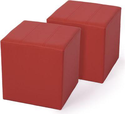 2x Sitzhocker Paris Sitzwürfel Hocker, Kunstleder, 40x38x38 cm