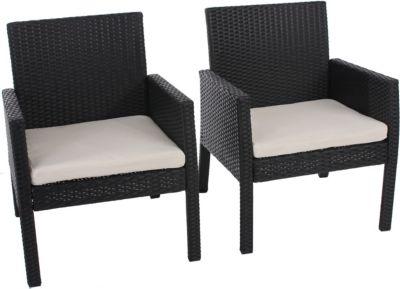 heute wohnen heute-wohnen 2x Poly-Rattan Sessel Gartensessel Sanremo inkl. Sitzkissen