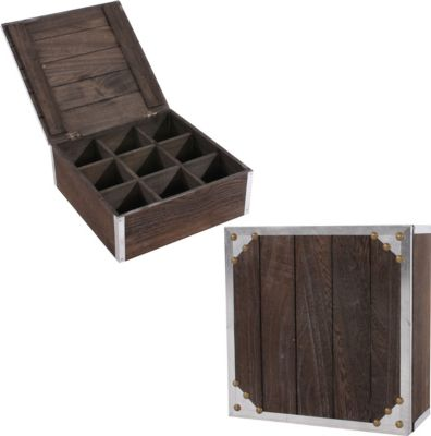 heute-wohnen 2x Teebox Aufbewahrungsbox Sockenbox Krawattenbox 24x24x10 cm, Shabby-Look, Vintage | Garten > Gartenmöbel > Aufbewahrung | heute-wohnen
