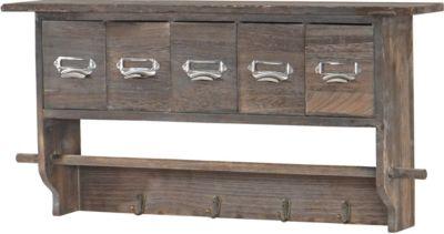Garderobe Wandgarderobe Wandregal mit 5 Schubladen 32x65x13cm, Shabby Look, Vintage