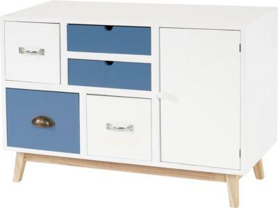 Kommode Malmö T273, Sideboard Schubladenkommode Schrank, Patchwork Retro-Design 58x81x34cm