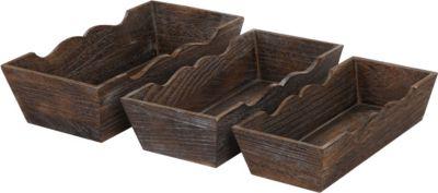 heute-wohnen 3er Set Holzschale T283, Obstschale Dekoschale, Shabby-Look Vintage
