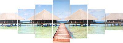 Leinwandbild T375, Wandbild Keilrahmenbild Kunstdruck, 7-teilig 140x50cm