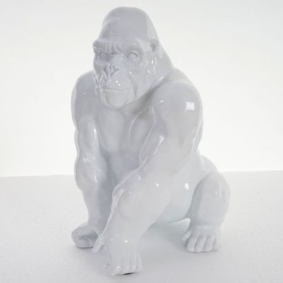 Deko Figur Gorilla 40cm, Polyresin Skulptur Affe, In-/Outdoor