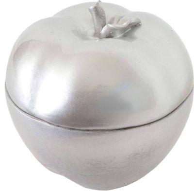 Deko Figur Apfel 21cm, Polyresin Schmuckdose Kosmetikdose, silber
