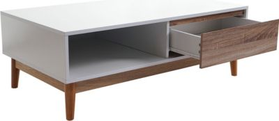 Lowboard Malmö T406, Kommode TV-Rack, 110x60x38cm, Retro-Design weiß