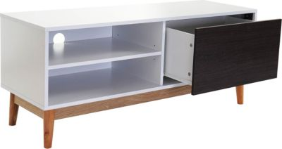 TV-Rack Malmö T407, Kommode Lowboard, 120x50x40cm, Retro-Design weiß