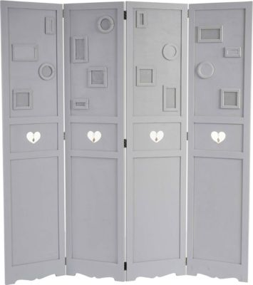 Paravent Fotogalerie, Raumteiler Trennwand Sichtschutz, Bilderrahmen, Herzen 170x161x2cm