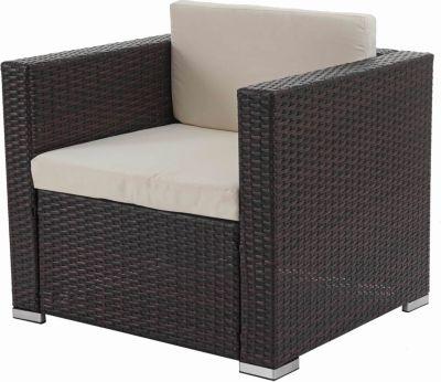 Modulares Poly-Rattan Alu-Sofa Rom Basic, Sessel, 75x80x71cm