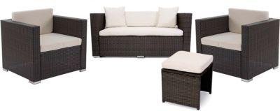 Poly-Rattan Alu-Sofa-Garnitur Rom Basic, Gartengarnitur Sitzgruppe, 2+1+2 Sessel