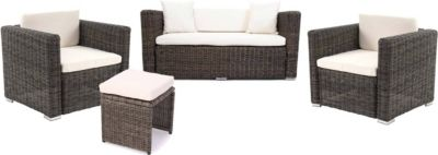 Luxus Poly-Rattan Alu-Sofa-Garnitur Rom Basic, Gartengarnitur, 2+1+2 Sessel, rundes Rattan, grau