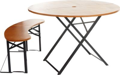 Bierzeltgarnitur Erding, Biertischgarnitur, klappbar 155cm Tisch+Bank rund